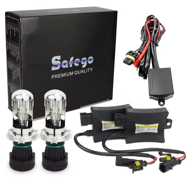 Safego Bixenon H4 HID Kit Bi xénon phares ampoules DC 35 W 55 W H4-3 HID Kit Hi Lo 12 V BI-XENON H4 6000 K 8000 K 4300 K 5000 K blanc