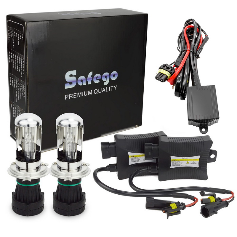 Safego биксенон H4 HID комплект Би ксеноновые лампы белого цвета DC 35 W 55 W H4 3 HID комплект Hi Lo 12 V BI XENON H4 6000 K 8000 K 4300 K 5000 K белый