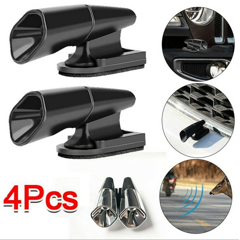 4 Ultrasonic Car Deer Warning Whistles -Animal Repeller Auto Safety Alert Device