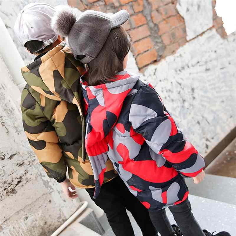 ילד הלבשה עליונה מעיל חורף מעיל תינוק בנות בני מעיילים ארוך שרוול חמוד הסוואה קוריאני רוכסן למטה כותנה לפעוטות מעיל