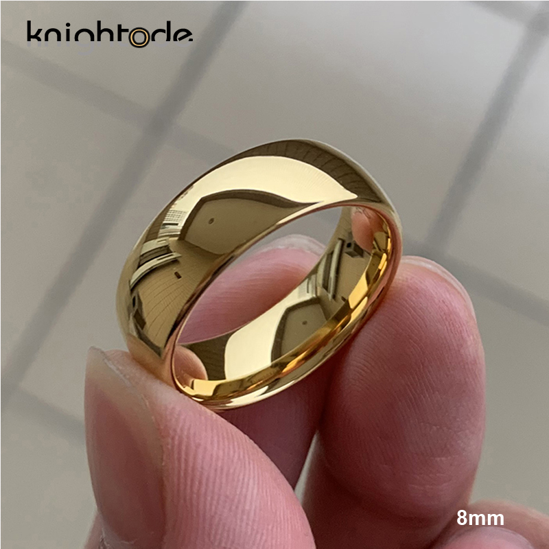 Classic Rose Gold Tungsten Wedding Ring For Women Men Tungsten Carbide Engagement Band Dome Polished Finish 8mm 6mm Ring 4