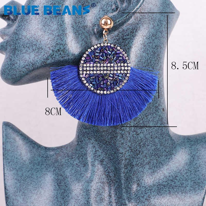 Women geometric Fringe Tassel Earrings for Women Hanging Crystal Drop Dangle Long  Earrings Bobo Luxury Handmade Jewelry Brinco