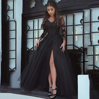 Sexy Slit Black Prom Dresses Lace Long Sleeve Elegant Formal Evening Gowns Party Long Prom Dresses For Woman vestidos de gala