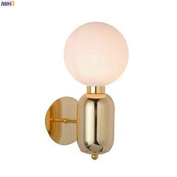IWHD stylu loft przemysłowe rocznika retro proste LED kinkiet sypialnia łazienka lustro światła Nordic oprawy ścienne aplikacja Murale Wandlamp