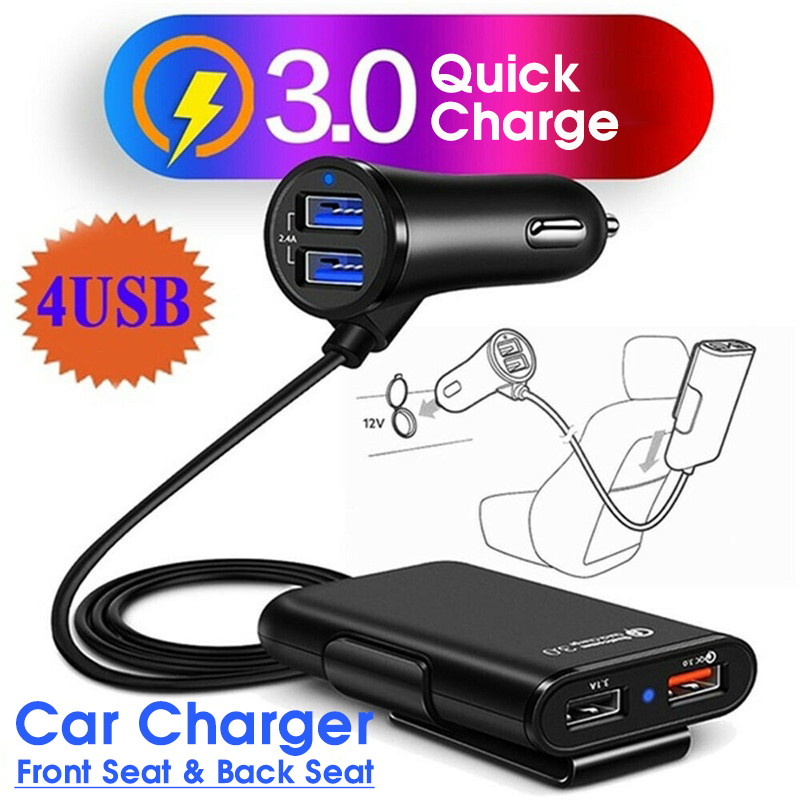 Quick Charge QC3.0 Car Charger 4 Ports USB Car Charger Extension Cable for mobile phone for Samsung/Xiaomi/iPhone Car Charger