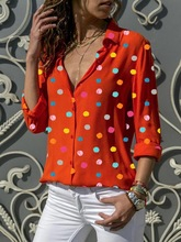 Autumn Maternity Shirt Tops and Blouses Polka Dot Print V-neck Long Sleeve Women Plus Size Wear