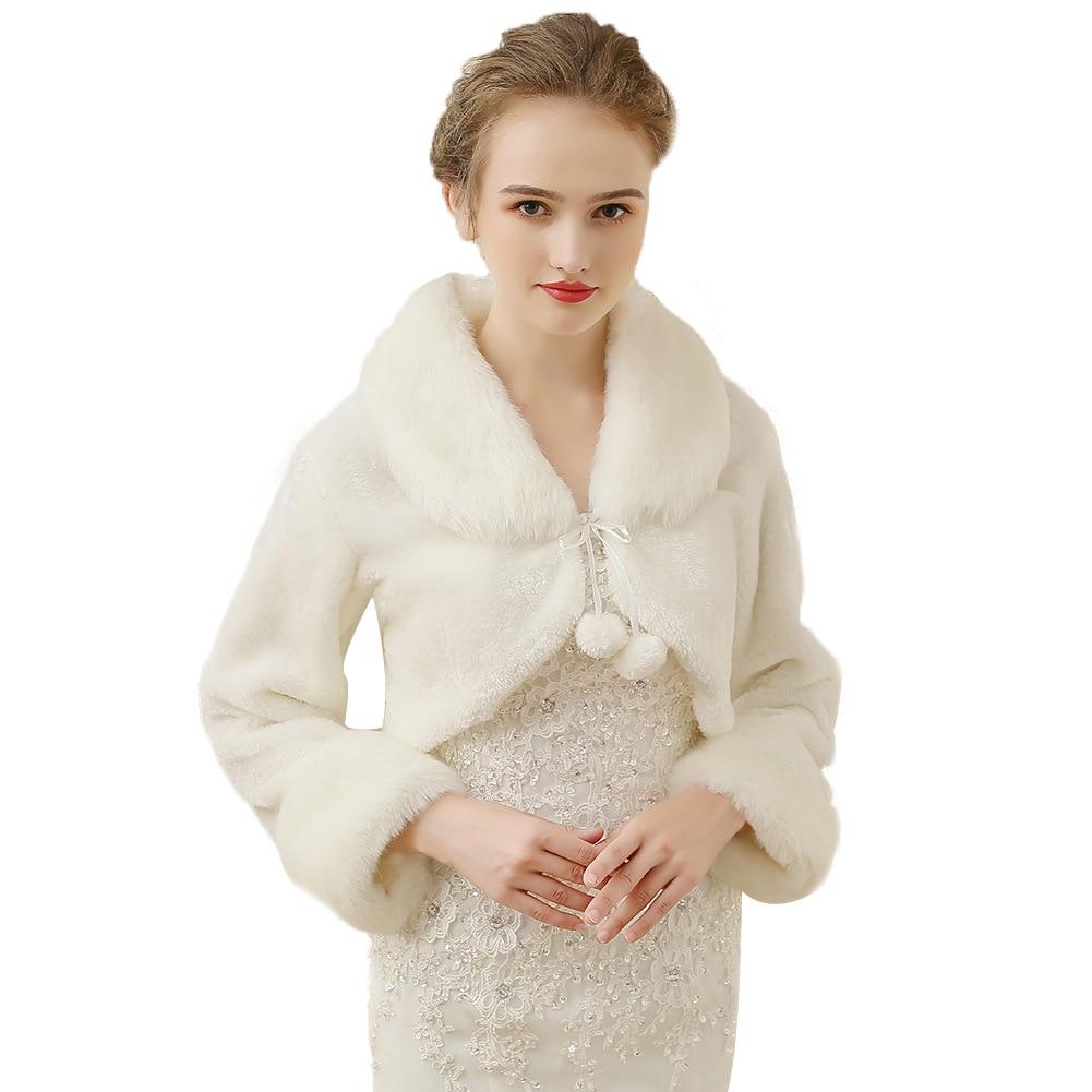 Winter Plush White Shawl Wedding Bridal Dress Imitation  Fur Shawl Bridesmaid Vest Long Sleeve Shawls Wraps
