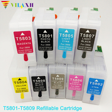 цены pro 3800 9pcs 9color T5801-T5809 Empty Refillable Ink Cartridge For epson Stylus pro 3800 printer ink with chip
