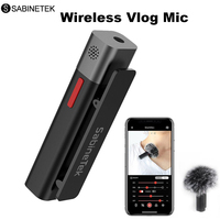 SABINETEK SmartMike+ Wireless Bluetooth Vlog Radio Microphone Real time Mic for iPhone Huawei Smartphone Computer Camera Vlogger
