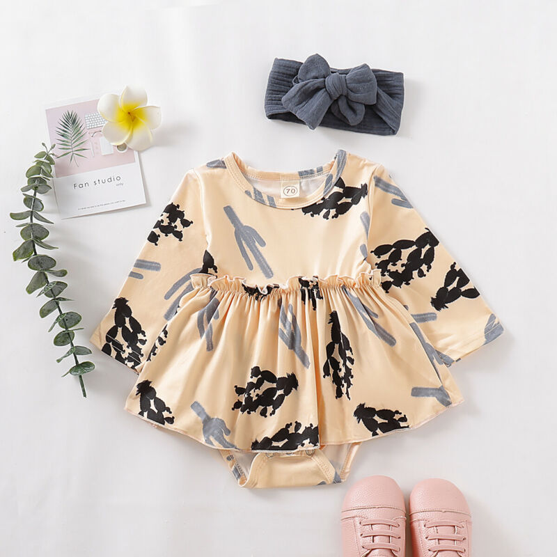 Pudcoco US Stock Fashion Newborn Baby Girl Clothes Long Sleeve Bodysuit Print Cactus Jumpsuit+Headband Dress Outfits Set
