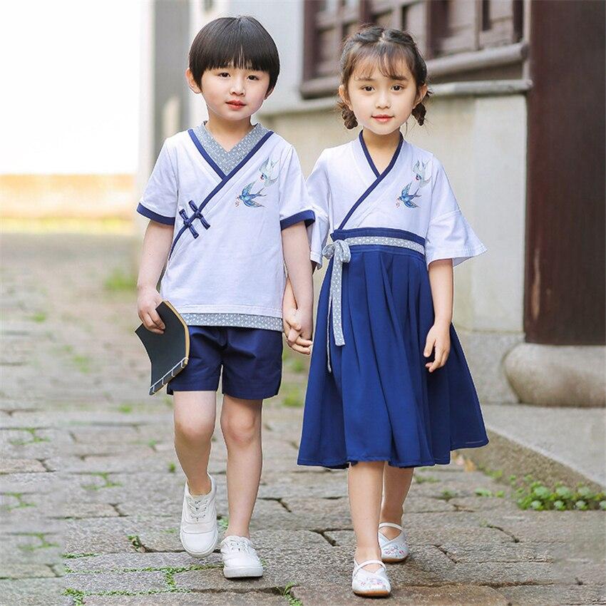 School Uniform Chinese Vintage Party Hanfu TangSuit For Girls Boy Swallow Kids Costume Japanese Style Korean Stage Performance