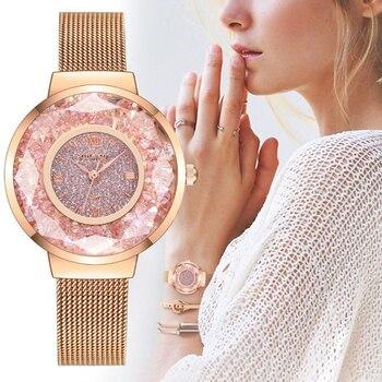 Hot Women's Watch Fashion Casual Rose Gold Mesh Romantic Starry Sky Stainless Steel Mesh Band Quartz Bracelet Watch Reloj mujer цена 2017