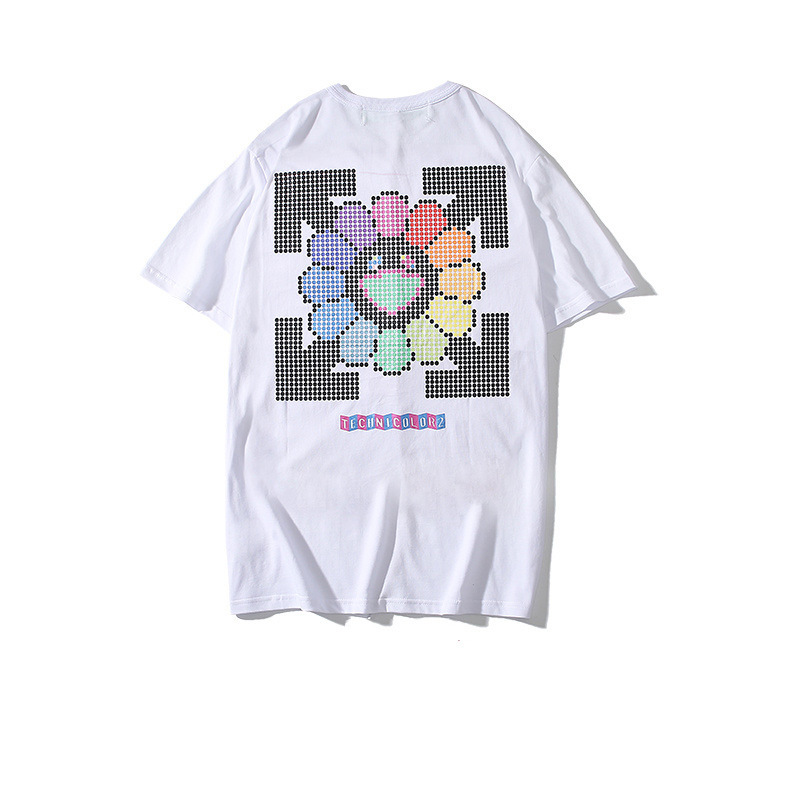19ss New Style Ow Popular Brand Sunflower Pixel Dotted Large Flower Printed Teenager Fashion And Personality Short Sleeve