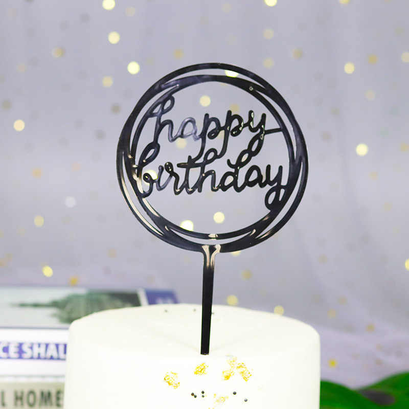 1 Buah Akrilik Selamat Ulang Tahun Cinta Kue Topper Dekorasi untuk Cupcake Ulang Tahun Bendera Ulang Tahun Partai Dekoratif Alat Peraga Perlengkapan