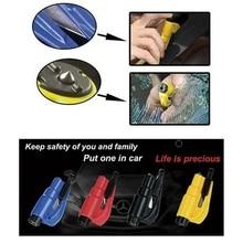 Auto Veiligheid Hamer Lente Type Ontsnappen Hamer Venster Breaker Punch Seat Belt Cutter Hammer Sleutelhanger