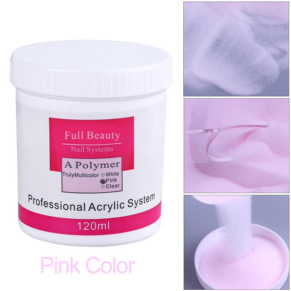Кристаллическая пудра для ногтей 120 мл, прозрачный розовый белый цвет, акриловая пудра для ногтей, 3D резьба, полимерный удлинитель, декорати...