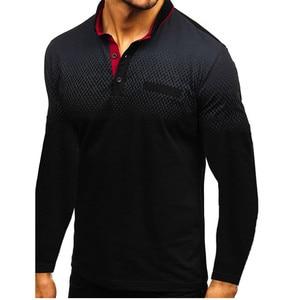 Image 3 - Новинка осени 2019, модная футболка поло для мужчин, хлопковая Повседневная рубашка поло с длинным рукавом, Мужская Высококачественная рубашка поло с отложным воротником