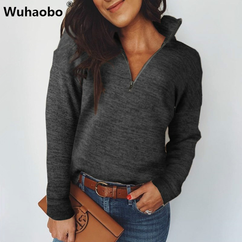 Wuhaobo Turtleneck Hoodies 2019 Women Autumn Winter Warm Clothes Casual Long Sleeves Half Zip Sweatshirts Streetwear Hoodie