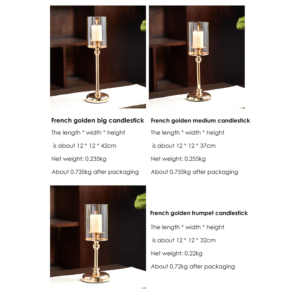Golden Metal Pillar Candle Holders Nordic Home Decor Metal Candlestick  6