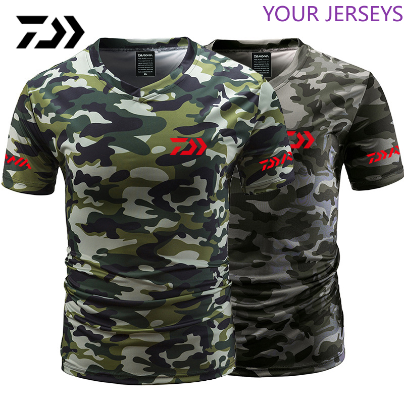 Daiwa Fishing Tshirt Summer Anti-sweat V Neck Camouflage Green  T-shirt Sports Wear Breathable Quick Dry  Clothing Pesca DAIWA
