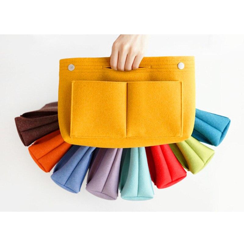 Felt Insert Bag Multi Pockets Handbag Purse Organizer Holder Makeup Travel