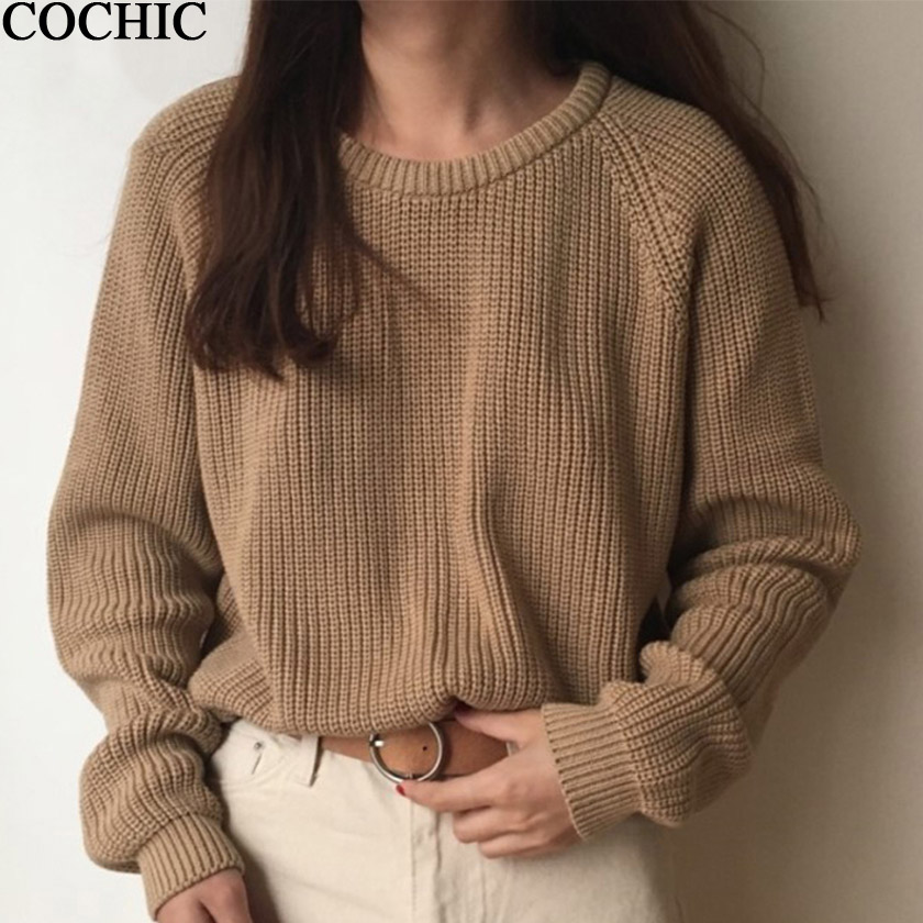 Korean Basic Ladies Raglan Sleeve Women Knitting Sweater Solid O-Neck Pullover Jumper Loose Warm Sweater