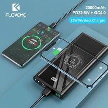Floveme 20000mah power bank pd22.5w carregamento rápido usb tipo c portátil carregador de bateria extremo 15w carregador sem fio power bank