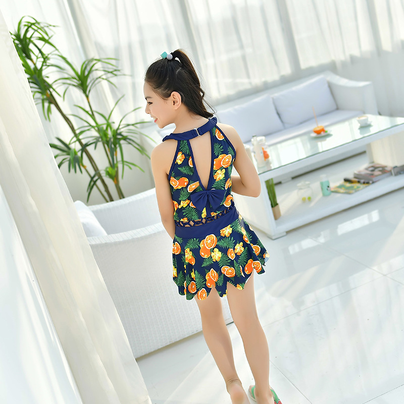 Children Girls Dress-Bathing Suit Big Kid Boxer Swim Bathing Suit Printed Hot Springs GIRL'S High-waisted One-piece Swimwear