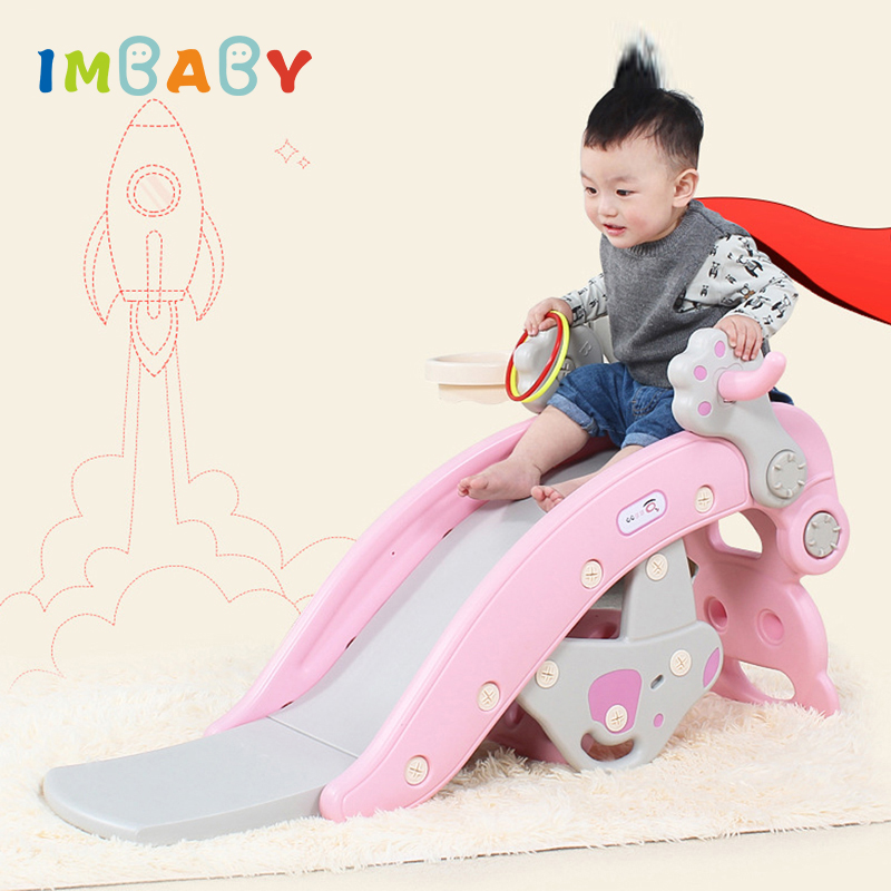 IMBABY 3 in 1 Baby Rocking Horse Slide Basketball Box Children s Kids Toys Indoor Outdoor Home v5 VC