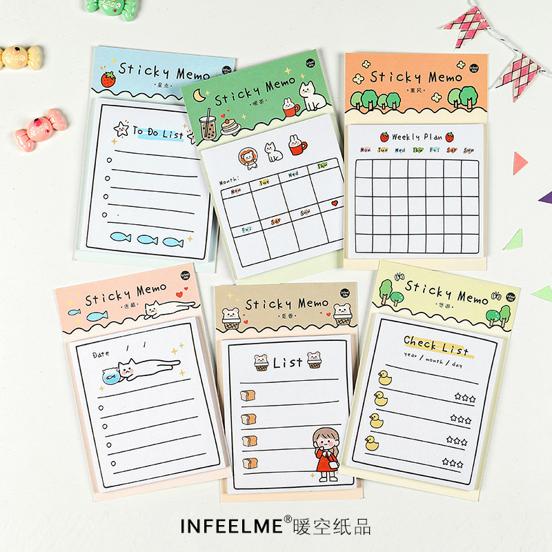 1X Cute Little Girl Cat Duck Star Memo Pads Sticky Notes Weekly Plan School Office Supply Student Stationery Kids Gift