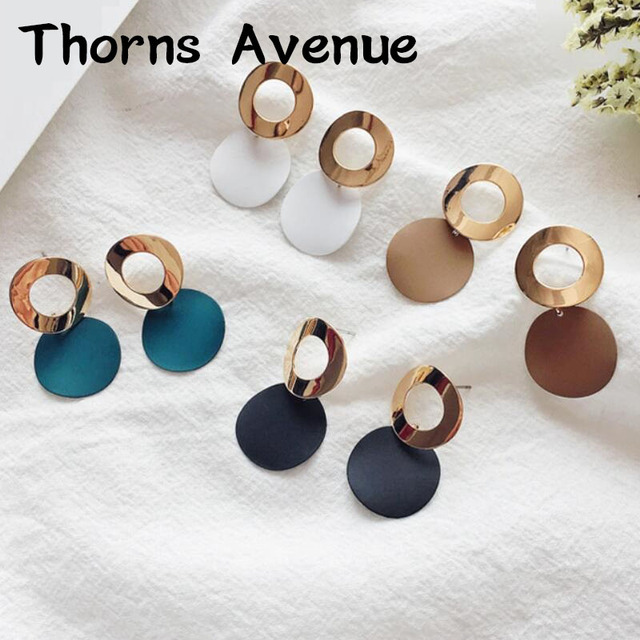 New Fashion Blue Black White Brown Pink Red Color Round Square Shape Boho Bridal Wedding Stud Earrings For Women Party Jewelry