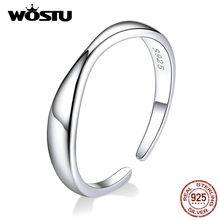 WOSTU 100% Real 925 Sterling Silver Simple Openning Ring For Women
