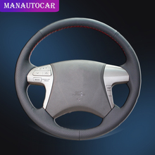Car Braid On The Steering Wheel Cover for Toyota Highlander 2009 2014 Camry 2007 2011 Car styling Auto Steering Wheel Covers