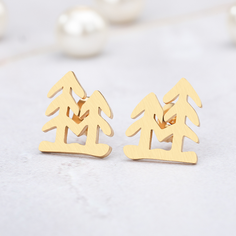 Holiday Gifts Gold Color Christmas Tree Stainless Steel Stud Earrings For Women Girl Wedding Anniversary Jewelry Brincos Gift