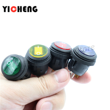 on / off SPST Round waterproof boat LED rocker switchlight 12V 220V power button switch 50x green power switch rleil rl2 p waterproof ip65 on off boat car rocker switch
