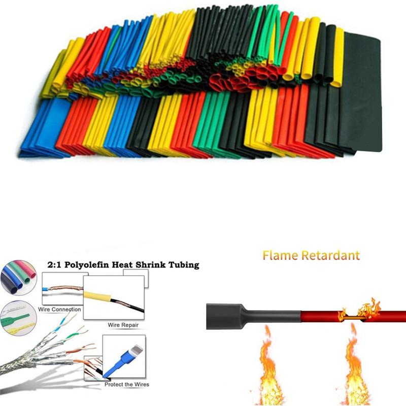 Conjunto de termo encolhível poliolefina, 70/150/164/328 peças/530 peças cabo de fio de tubo isolado mangueira conjunto de tubos 2