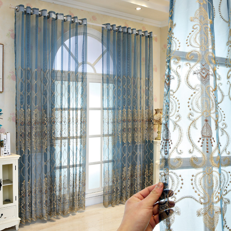 Blue Luxury Embroidery Tulle For Living Room Cheap Curtain Window Drapes For Bedroom Discount Yellow Thin Curtain Voile M072 40 Curtains Aliexpress