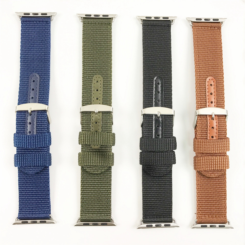 Manufacturers Wholesale Suitable For Apple APPLE Watch Of Watch Strap Monochrome Nylon Woven Pattern Watch Strap 38/42