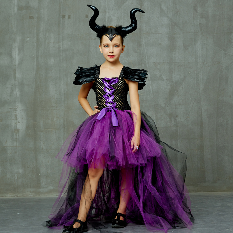 Halloween Maleficent Evil Dark Queen Girls Tutu Dress With Horns Wicked Witch Kids Cosplay Party Ball Gown Costume Fancy Clothes