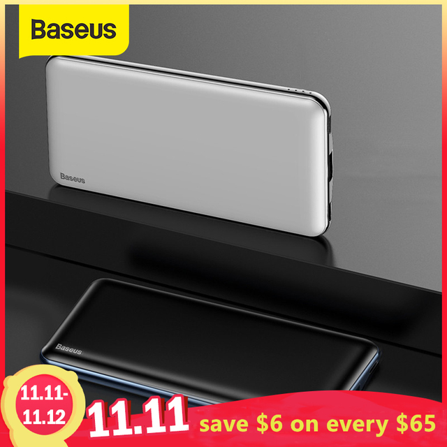 Baseus 10000mAh PD Quick Charge Power Bank 3A Fast Charging Ultra Slim Power Bank USB Type C Charger for iPhone X 8 7 Xiaomi MI