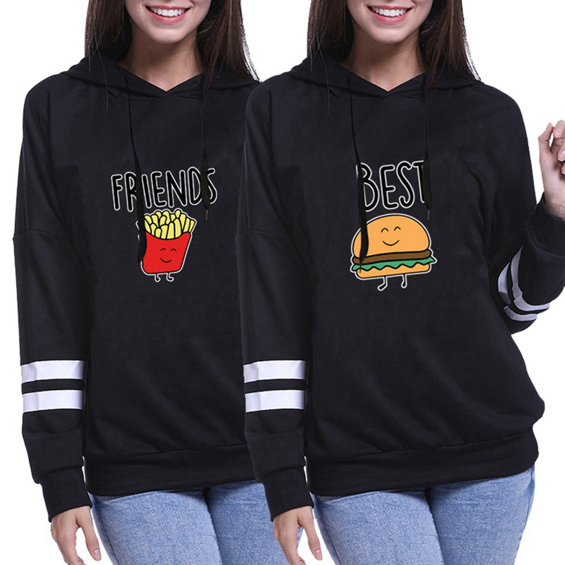 BFF Hoodies Women Autumn Winter Full Sleeve Sweatshirt Female Hoodies BEST FRIENDS Hamburger And Fries Casual Coats