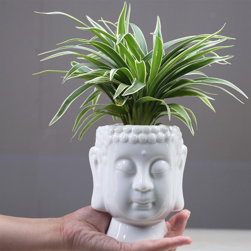 Ceramic Flower Pot Buddha Vase Desktop Adornment Creative Ceramics Buddha Vase Ornament Seedsplants Plant Pot Without Plant