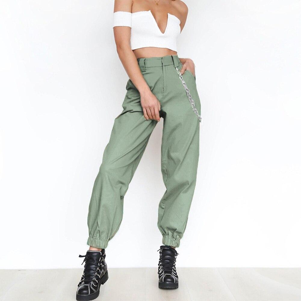 PUIMENTIUA 19 Autumn vintage chain black cargo pants women high waist pants joggers baggy trousers women streetwear plus size 19