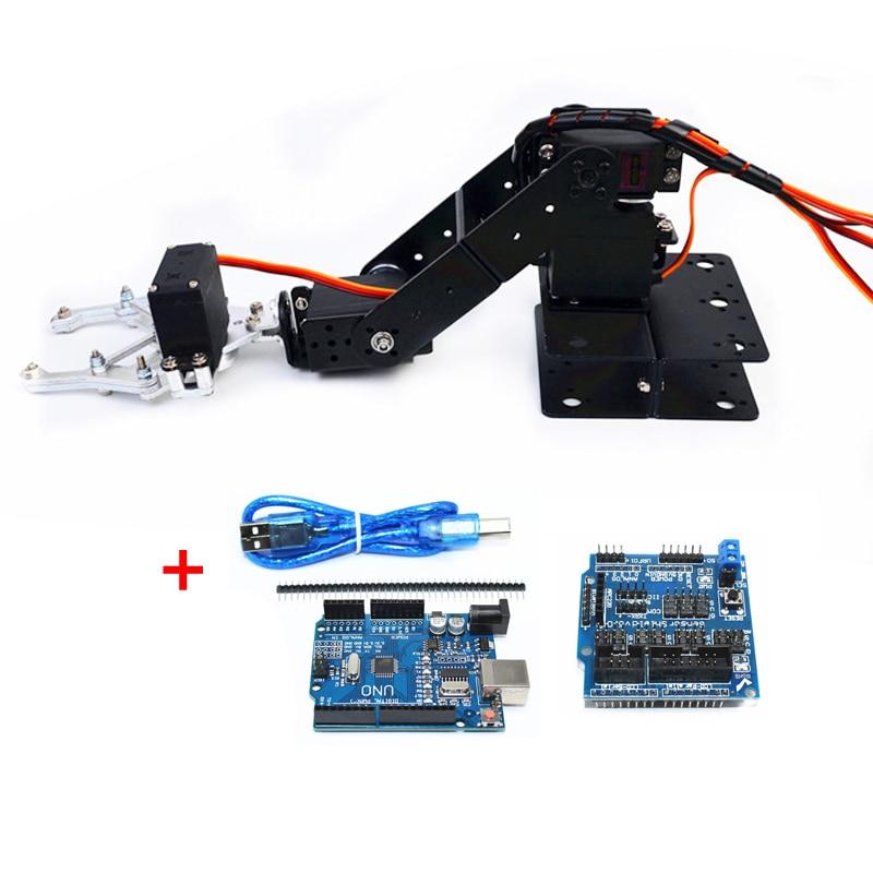 Arduino 4 Asix Robot Arm Manipulator With 4pcs 180 Degree MG996r Servo Metal Claw Gripper DIY Programming STEM Toy Parts