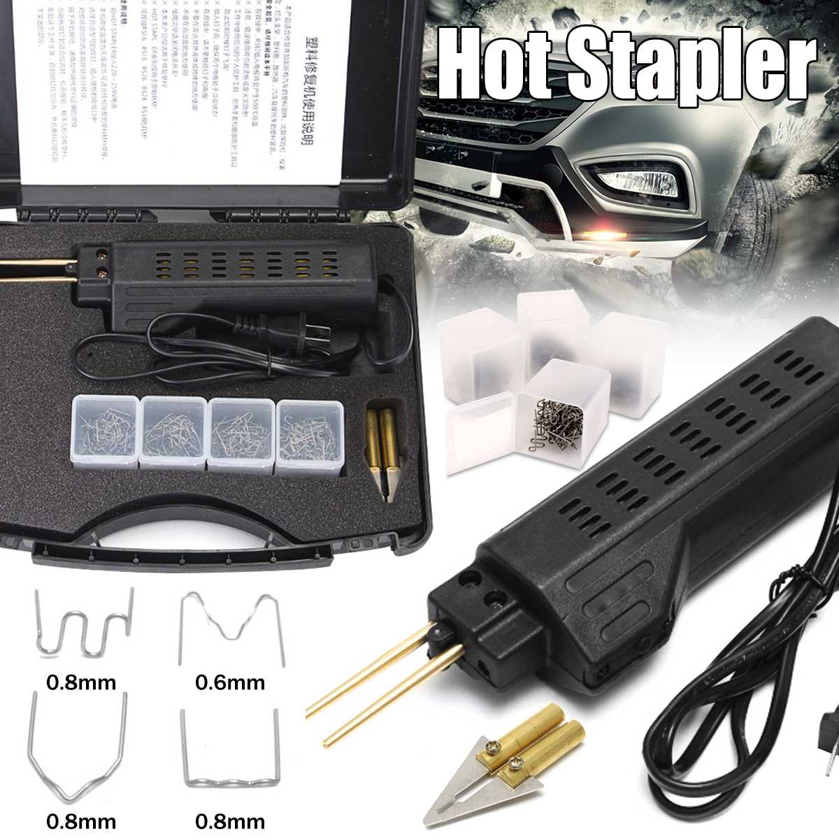 220-250V Plastic Bumper Repair Car Bumper Welding Torch Fairing Auto Body Tool Welding Machine 200 Plastic Stapler