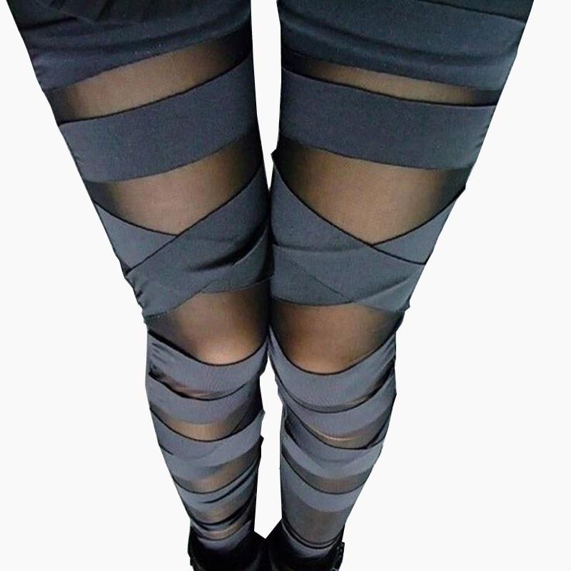 VISNXGI Sexy Clothes Bandage Leggings Lace Leggins Women Punk Legins Sexy Splicing Pants Stretch Black Trousers Patchwork Pant