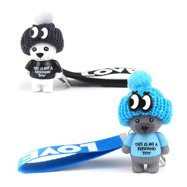 Vicney New Arrival Cute Teddy Bear Key Chain'THIS IS NOT A KOSCHINO TOY'Bear KeyChain Animal Pattern Key Holder For Girl Friend 4