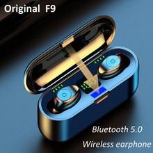 F9 v5.0 tws sem fio bluetooth fone de ouvido sem fio à prova dwaterproof água display led 2000mah power fone com microfone