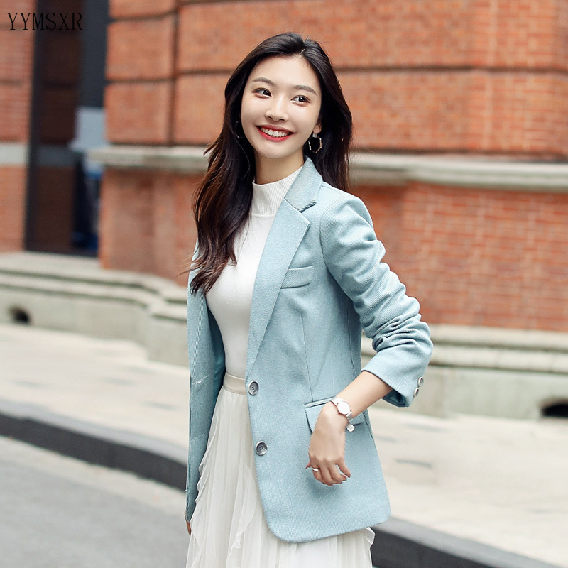 Autumn and winter women's small suit jacket 2019 new casual single-breasted plaid jacket coat Elegant women's blazer