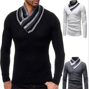 Men's Sweaters Pullovers Knitwear Long-Sleeve Winter Autumn 3XL J674 Blouse Bib Homme